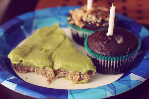 Vegan Raw Avocado Lemon Pie with Gluten-Free Chocolate Cupcakes