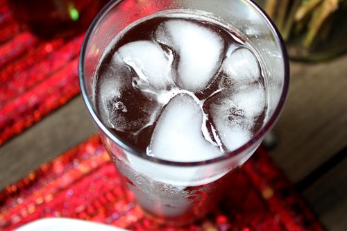 Raspberry Tea with Heart-Shaped Ice