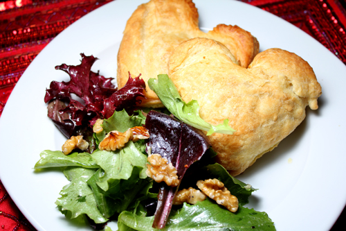 Heart-Shaped Vegetable Pocket Pies with Spring Mix