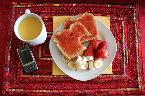 Whole Wheat Toast, Fresh Fruit and Orange Juice