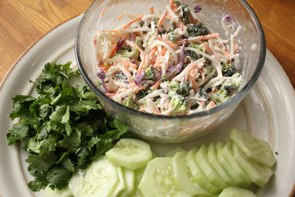 Cilantro, Cucumbers and Veggie Slaw with Vegenaise