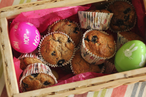 Easter Basket with Vegan Blueberry Muffins