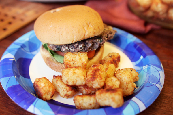 Black Bean Burger and Tots