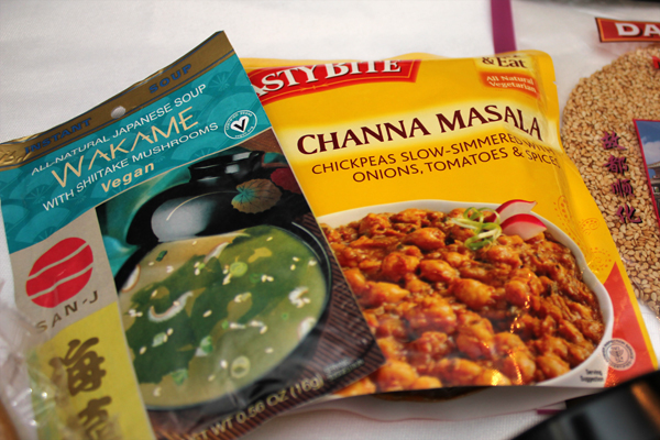 San-J Wakame Soup and Tasty Bite Channa Masala
