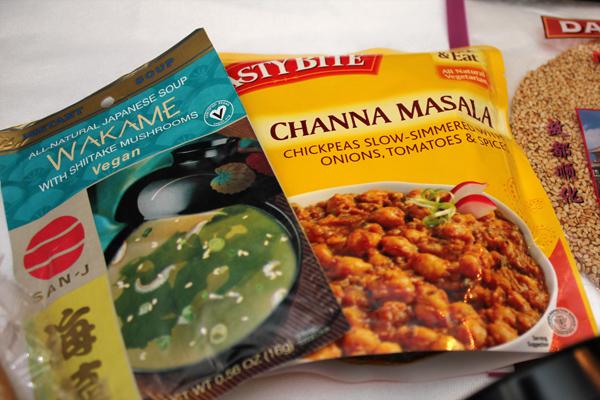 San-J Wakame Soup and Tasty Bite Channa Masala