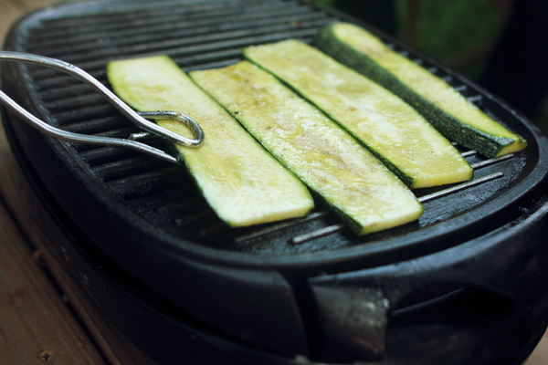 Grilling up some sliced zucchini