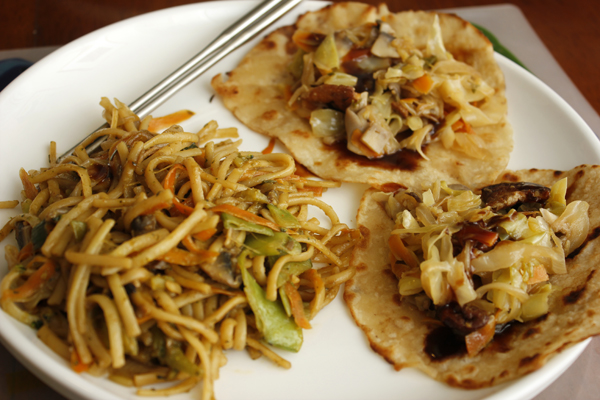Moo Shu Vegetables with Homemade Chinese Pancakes and Chinese Takeout Chow Mein
