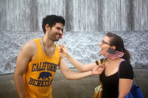 Remy and Marisa at The Williams Waterwall in Houston, Texas