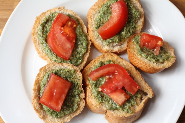 Fresh Basil Pesto Crostini with tomato