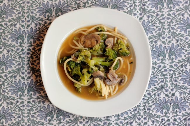 Vegetable Noodle Soup with Broccoli