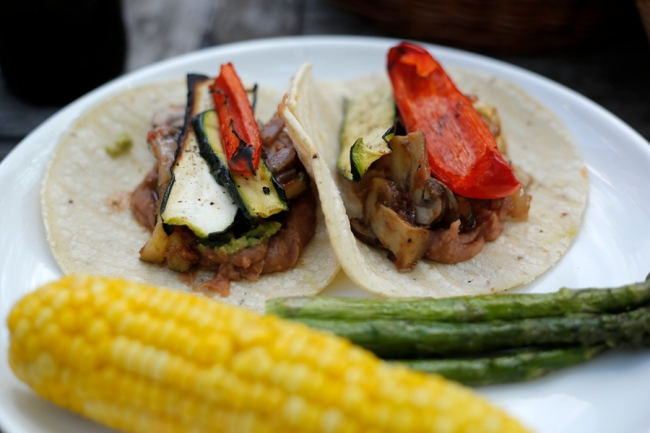 Tacos with Sautéed Mushroom Filling, grilled vegetables, grilled corn and asparagus