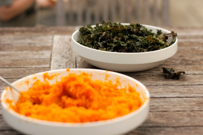 Sweet Potato Mash with Kale Chips | #veggieangie