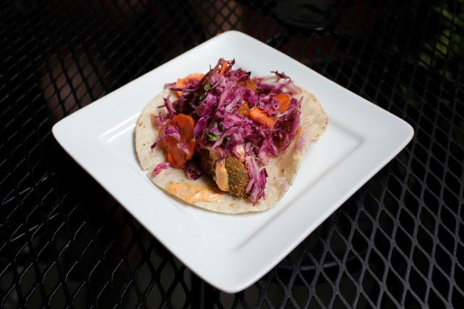 Fried Avocado Taco at Radical Eats  | #veggieangie