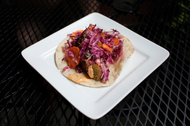 Fried Avocado Taco at Radical Eats  | #veggieangie