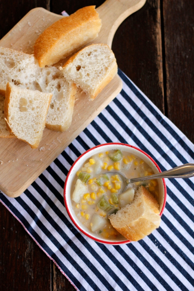 Vegan Corn and Potato Chowder | #VeggieAngie