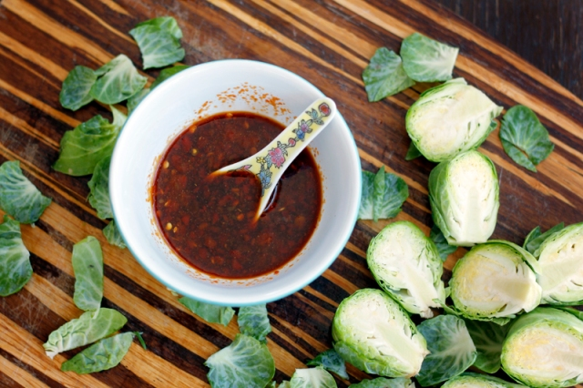 Sweet Chili Garlic Soy Sauce and Brussels Sprouts #veggieangie #vegan