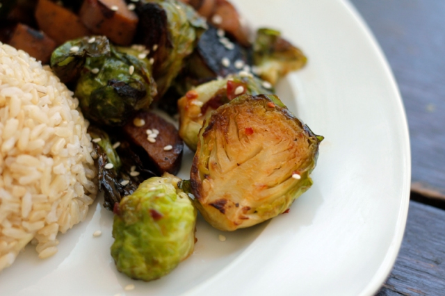 Roasted Brussels Sprouts and Sausage with a Sweet Chili Garlic Soy Sauce #veggieangie #vegan